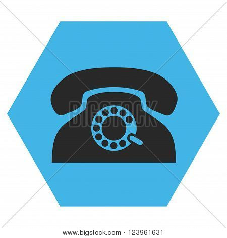 Pulse Phone vector symbol. Image style is bicolor flat pulse phone iconic symbol drawn on a hexagon with blue and gray colors.