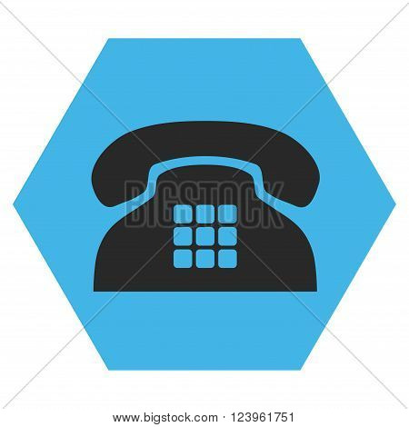 Tone Phone vector icon symbol. Image style is bicolor flat tone phone pictogram symbol drawn on a hexagon with blue and gray colors.