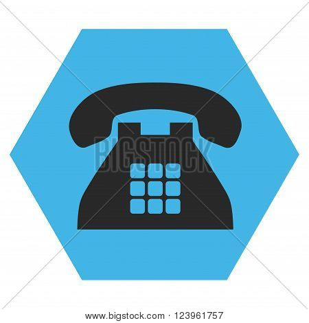 Tone Phone vector icon. Image style is bicolor flat tone phone pictogram symbol drawn on a hexagon with blue and gray colors.
