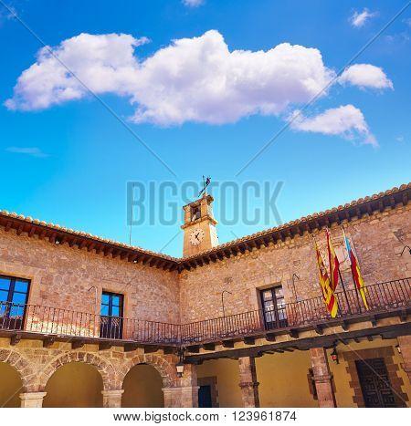 Albarracin city hall medieval town village at Teruel Spain