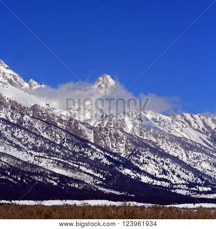 Mount Woodring of the Grand Tetons Peaks in Grand Tetons National Park in Wyoming United States