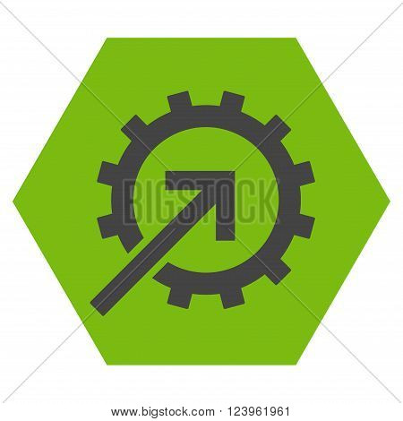 Cog Integration vector pictogram. Image style is bicolor flat cog integration pictogram symbol drawn on a hexagon with eco green and gray colors.