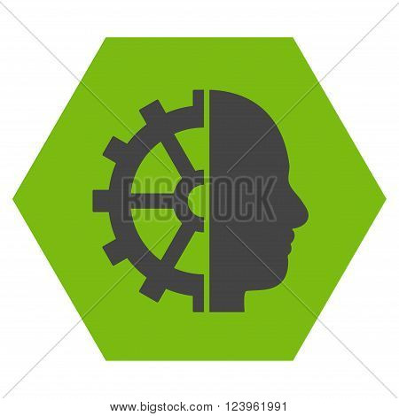 Cyborg Gear vector pictogram. Image style is bicolor flat cyborg gear pictogram symbol drawn on a hexagon with eco green and gray colors.