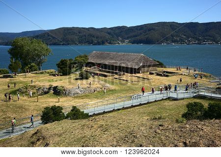 NIEBLA, CHILE - FEBRUARY 2, 2016: Museum (former headquarter) of the Niebla fort, Chile on February 2, 2016. The fort, located at the mouth of the Valdivia river, is part of the Valdivian fort system and was declared national monument in 1950