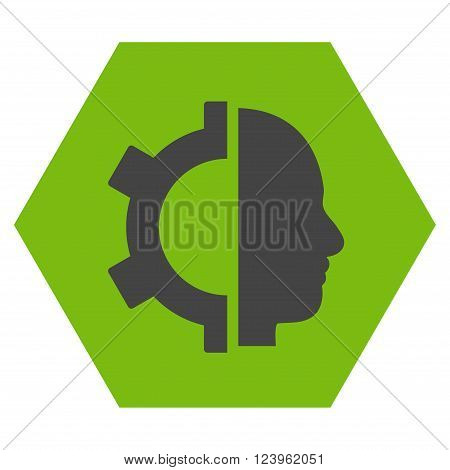 Cyborg Gear vector icon. Image style is bicolor flat cyborg gear iconic symbol drawn on a hexagon with eco green and gray colors.