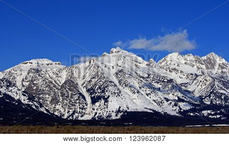 Grand Tetons Peaks in Grand Tetons National Park in Wyoming USA