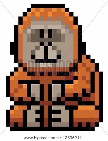 Vector illustration of Cartoon orangutan - Pixel design