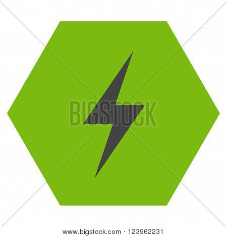Electricity vector pictogram. Image style is bicolor flat electricity pictogram symbol drawn on a hexagon with eco green and gray colors.