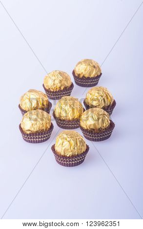 Chocolate ball or handmade chocolates ball on background