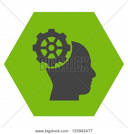 Head Gear vector icon. Image style is bicolor flat head gear pictogram symbol drawn on a hexagon with eco green and gray colors.