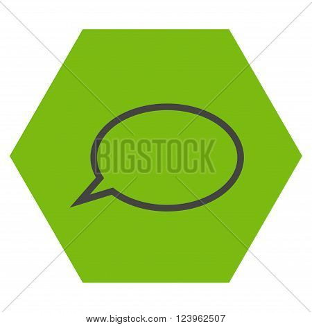 Hint Cloud vector symbol. Image style is bicolor flat hint cloud pictogram symbol drawn on a hexagon with eco green and gray colors.