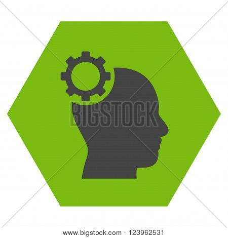 Intellect Gear vector pictogram. Image style is bicolor flat intellect gear pictogram symbol drawn on a hexagon with eco green and gray colors.