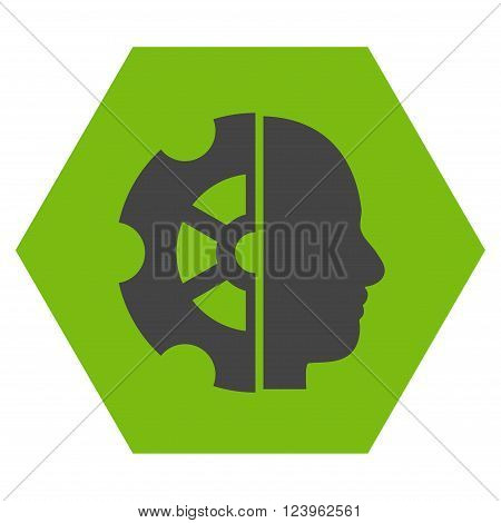 Intellect vector icon. Image style is bicolor flat intellect iconic symbol drawn on a hexagon with eco green and gray colors.