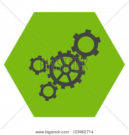 Mechanism vector symbol. Image style is bicolor flat mechanism pictogram symbol drawn on a hexagon with eco green and gray colors.