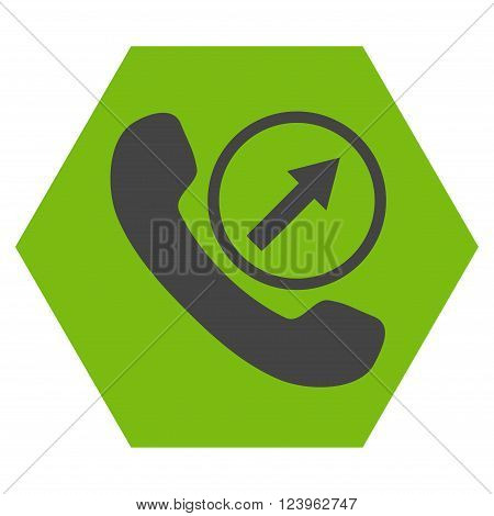 Outgoing Call vector symbol. Image style is bicolor flat outgoing call iconic symbol drawn on a hexagon with eco green and gray colors.