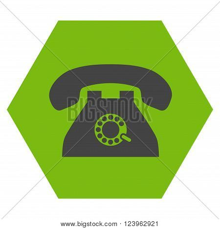 Pulse Phone vector symbol. Image style is bicolor flat pulse phone pictogram symbol drawn on a hexagon with eco green and gray colors.