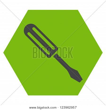 Screwdriver vector pictogram. Image style is bicolor flat screwdriver pictogram symbol drawn on a hexagon with eco green and gray colors.