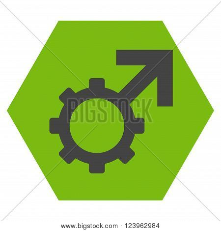 Technological Potence vector symbol. Image style is bicolor flat technological potence icon symbol drawn on a hexagon with eco green and gray colors.