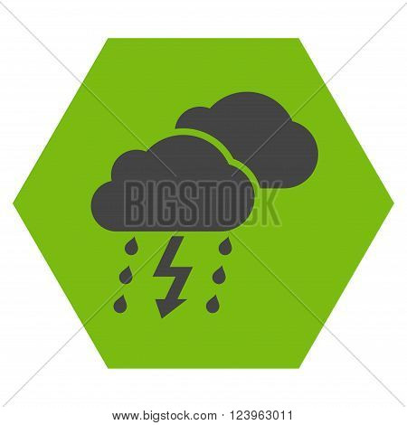 Thunderstorm vector symbol. Image style is bicolor flat thunderstorm pictogram symbol drawn on a hexagon with eco green and gray colors.