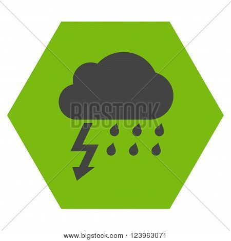 Thunderstorm vector symbol. Image style is bicolor flat thunderstorm iconic symbol drawn on a hexagon with eco green and gray colors.