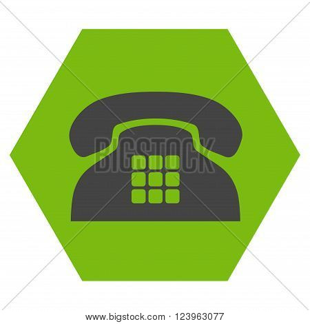 Tone Phone vector pictogram. Image style is bicolor flat tone phone iconic symbol drawn on a hexagon with eco green and gray colors.