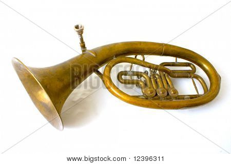 isolated alto saxhorn on white background