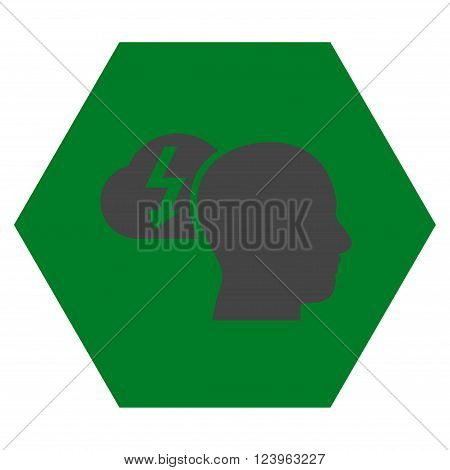 Brainstorming vector symbol. Image style is bicolor flat brainstorming iconic symbol drawn on a hexagon with green and gray colors.