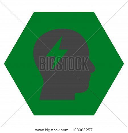 Brainstorming vector pictogram. Image style is bicolor flat brainstorming iconic symbol drawn on a hexagon with green and gray colors.