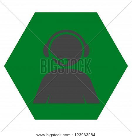 Call Center Operator vector icon. Image style is bicolor flat call center operator icon symbol drawn on a hexagon with green and gray colors.