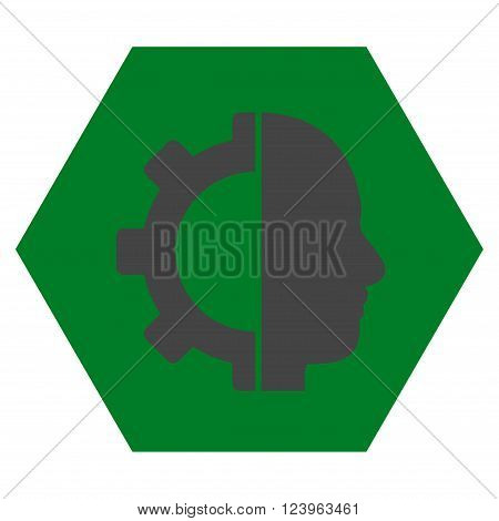 Cyborg Gear vector icon. Image style is bicolor flat cyborg gear iconic symbol drawn on a hexagon with green and gray colors.