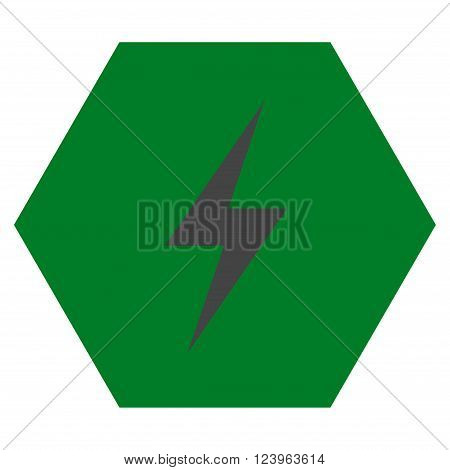 Electricity vector symbol. Image style is bicolor flat electricity pictogram symbol drawn on a hexagon with green and gray colors.