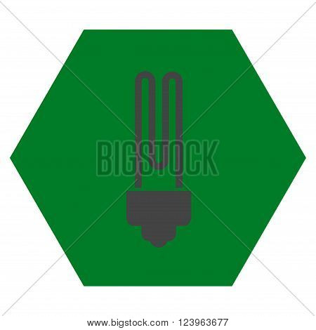 Fluorescent Bulb vector icon symbol. Image style is bicolor flat fluorescent bulb icon symbol drawn on a hexagon with green and gray colors.