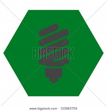 Fluorescent Bulb vector icon symbol. Image style is bicolor flat fluorescent bulb iconic symbol drawn on a hexagon with green and gray colors.
