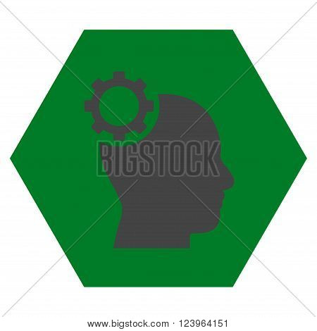 Intellect Gear vector icon. Image style is bicolor flat intellect gear iconic symbol drawn on a hexagon with green and gray colors.