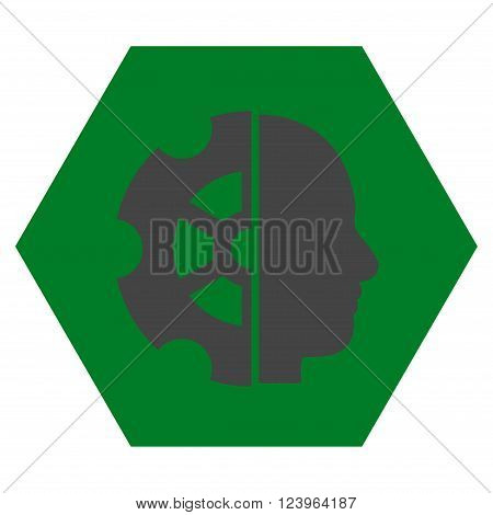 Intellect vector icon symbol. Image style is bicolor flat intellect iconic symbol drawn on a hexagon with green and gray colors.