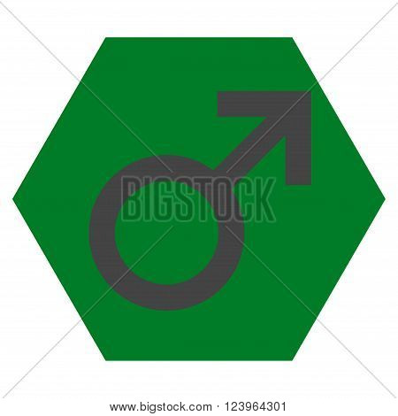 Male Symbol vector symbol. Image style is bicolor flat male symbol pictogram symbol drawn on a hexagon with green and gray colors.