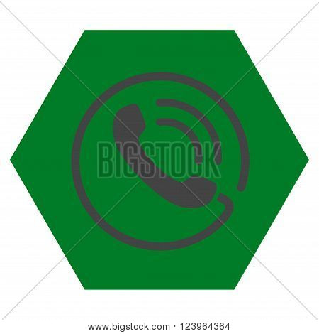 Phone Call vector icon symbol. Image style is bicolor flat phone call iconic symbol drawn on a hexagon with green and gray colors.