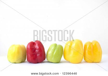group of red,green and yellow bellpeppers