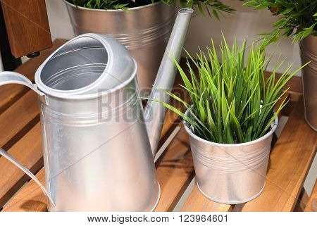 Watering Can or Watering Pot with Artificial Plant