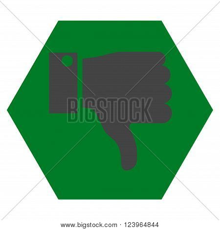 Thumb Down vector symbol. Image style is bicolor flat thumb down icon symbol drawn on a hexagon with green and gray colors.