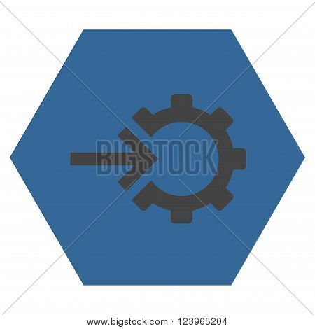 Cog Integration vector pictogram. Image style is bicolor flat cog integration iconic symbol drawn on a hexagon with cobalt and gray colors.