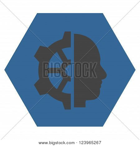 Cyborg Gear vector symbol. Image style is bicolor flat cyborg gear icon symbol drawn on a hexagon with cobalt and gray colors.
