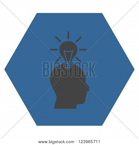 Genius Bulb vector icon. Image style is bicolor flat genius bulb iconic symbol drawn on a hexagon with cobalt and gray colors.