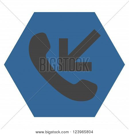 Incoming Call vector pictogram. Image style is bicolor flat incoming call pictogram symbol drawn on a hexagon with cobalt and gray colors.