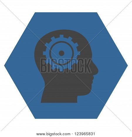 Intellect vector pictogram. Image style is bicolor flat intellect pictogram symbol drawn on a hexagon with cobalt and gray colors.