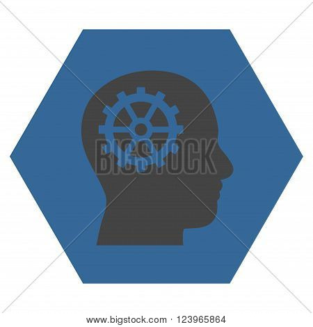Intellect vector pictogram. Image style is bicolor flat intellect icon symbol drawn on a hexagon with cobalt and gray colors.