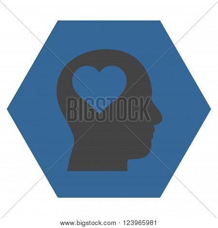 Lover Head vector pictogram. Image style is bicolor flat lover head icon symbol drawn on a hexagon with cobalt and gray colors.
