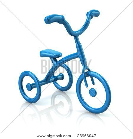 3d illustration of blue tricycle isolated on white background