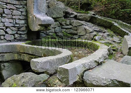 Dry stone gutters in Stryiskyi Park Lviv Ukraine