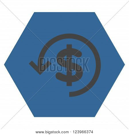 Refund vector symbol. Image style is bicolor flat refund pictogram symbol drawn on a hexagon with cobalt and gray colors.